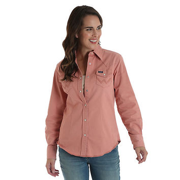 Women's Long Sleeve Serged Hem Western Snap Top | Womens Shirts by Wrangler®