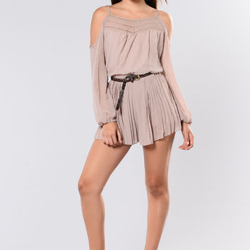 In The Car Cold Shoulder Romper - Taupe