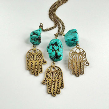 Turquoise Stone Hamsa Necklace by Atelier Yumi