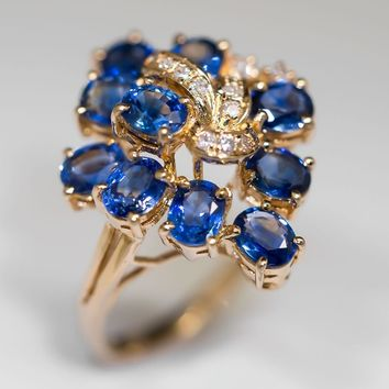 Diamond & Sapphire Cluster Cocktail Ring 14K Gold