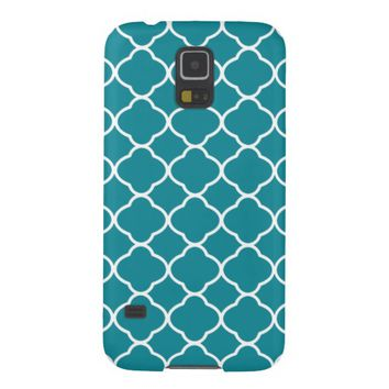 Teal Blue Quatrefoil Pattern Galaxy S5 Case