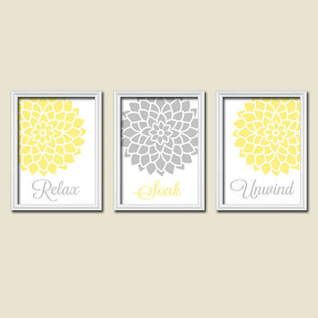Relax Soak Unwind Yellow Grey Gray Flourish Dahlia Flower Artwork Set of 3 Bathroom Prints Wall Decor Art Picture Match