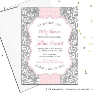 Pink and gray baby shower invite baby girl, lace baby shower invitation, unique baby invitations for girls, printed or printable - WLP00788
