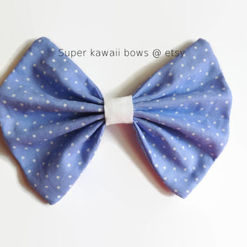 Periwinkle Polka Dot Hair Bow, Stomach Cancer Awareness