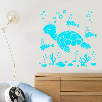 Vinyl Wall Decal Cartoon Sea Turtle Fish Ocean Style Water Bubbles Stickers Unique Gift (2098ig)