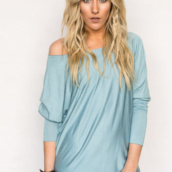 Seamless Dolman Top in Silver Blue