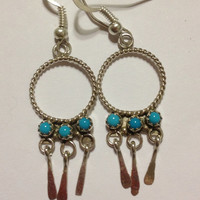 Navajo Sleeping Beauty Turquoise Earrings Sterling Silver Vintage Tribal Southwestern Jewelry Christmas Holiday Gift 925 Xmas