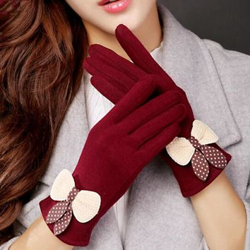 Fashion Elegant Ladies Touch Screen Warm Lace Gloves Women Winter Cashmere Bow Full Finger Mittens Female Butterfly Gloves G67