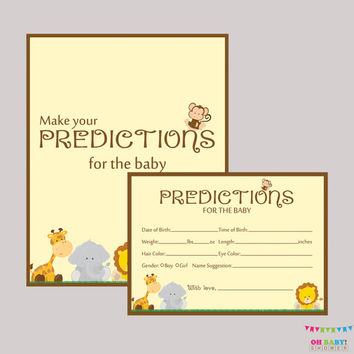 Safari Baby Shower Prediction Cards Printable - Instant Download - Baby Statistics Game Guess Baby's Birthday, Weight, etc - Safari BS0001-N