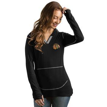 Women's Chicago Blackhawks Move Pullover Hooded Fleece, Black-Antigua