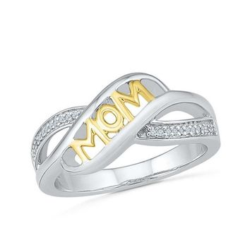 "Two Tone ""Mom"" Ring"