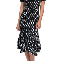 Black Short Sleeve Polka Dot Dress with Belt