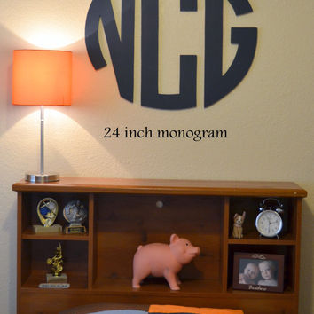 Wooden Initial Monogram Circle - 24 Inches - 3 Letters - As seen on Apartment Therapy