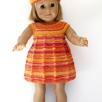 Hand Knit Doll Dress with Matching Beret and Triangle Shawl, Three Piece Summer Outfit in Sunny Colors for 18 Inch Dolls like American Girl