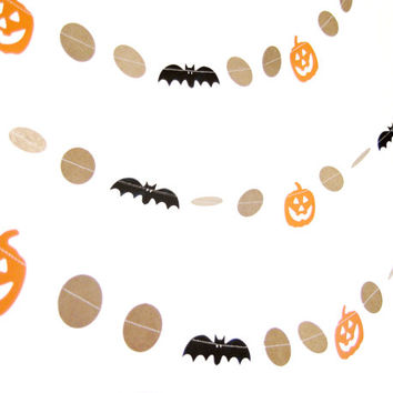 Paper Pumpkin & Bat Halloween Garland - Kraft Garland, Halloween decor, Spooky Garland, Jack o Lantern garland, Halloween decor
