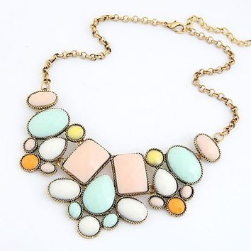 Temperament Candy Color Multilayer Geometric Gem Beads Necklace