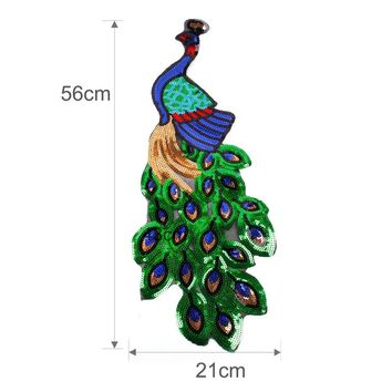 FENGRISE Sequin Embroidery Peacock Patch Sewing On