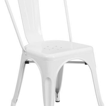 Tolix Style Chair White Metal