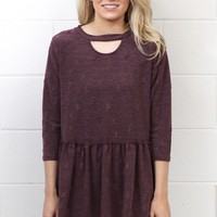 Distressed Keyhole Smocked Peplum Top {Burgundy}