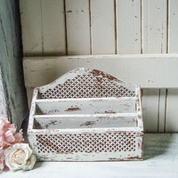 Antique White Letter Holder, Shabby Chic Ornate Wooden Letter Storage Box, Bill Holder, Farmhouse White Office Decor, Gift Ideas