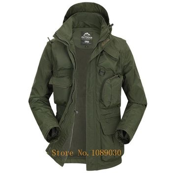 Trendy 2018 AFS JEEP Military Jacket Men Multi-pockets Hat & Sleeves Detachable Waterproof Jacket Autumn Male Outerwear Windbreaker AT_94_13