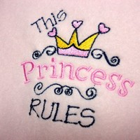 This Princess Rules Pink Handmade Baby Blanket Embroidered Girl