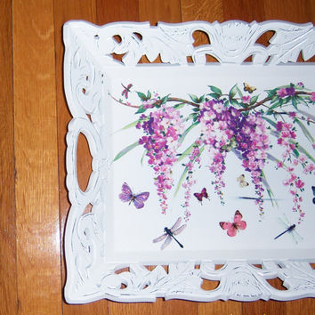 Ornate Wisteria Vine wood tray glitter by MoanasUniqueDesigns