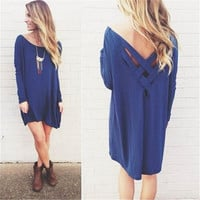 Women's New Plus Size Dark Blue Long Sleeve Shirt Pullover Tops Bandage Dress