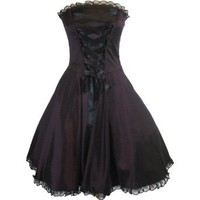 Skelapparel Gothic Rockabilly Purple Satin Corset Lace-up Dress 8
