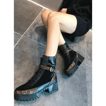 QIYIF Louis Vuitton new contrast color LV lace-up platform Martin boots High-heeled outdoor desert boots chunky women's boots