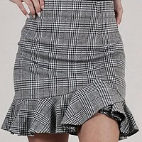 Women Fashion Plaid Skirts Female Casual High Waist Ruffle Bodycon Skirts Mujer Business Chic Skirts