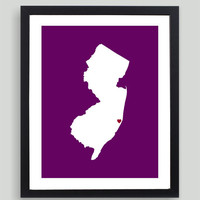 My Heart Resides In New Jersey Art Print - Any City, Town, Country or State Map Customized Silhouette GiftBlack Friday AND Cyber Monday Sale