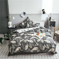 100% cotton English word design i love you  King Queen Size Bedding Sets Duvet Cover Sheet Set pillowcase Valentine's Day gift