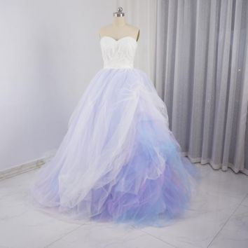 Colorful Wedding Dresses Purple pink blue Tulle Layers Pearl Beaded Luxury Romantic Bridal Gown
