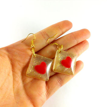 Heart earrings Red hearts Golden earrings Glittering earrings Heart gift Square earrings Small earrings Heart jewelry Valentines day gift