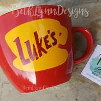 "GLITTER!  ""Red"" - Original Luke's Diner Inspired stoneware Big Mug with VINYL decal logo on BOTH sides!  New with glitter!"
