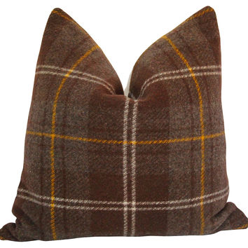 Wool Plaid & French Linen Pillow