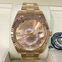 NEW ROLEX Ref. 326938 Sky Dweller GMT 18K Y/Gold 42mm w/ Champagne Dial! SUPERB!