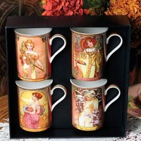 ART NOUVEAU FINE BONE CHINA MUGS (SET OF 4)