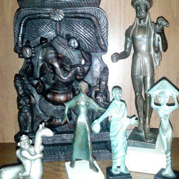 6 Piece Lot---- Lord Ganesh(a) Wood Carved Wall/Art Display, Hermes Etruscan/Female Dancer/Greek/Roman Statuettes, Peru Inca Man W/Llama