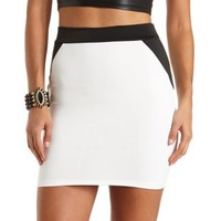Color Block Bodycon Skirt by Charlotte Russe - Black/White