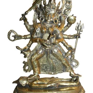 Agan Traders Bronze 8 Arms Black Kali Fierce Goddess Home Decor Statue Fair Trade Nepal (13 X 8.5 X 4.5 inches; 8 lb)