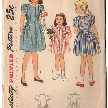 c504bf9b24 Vintage 1940s Simplicity Sewing Pattern 1994 Girls Puffy Sleeve Dress Peter  Pan Collar Button Up with