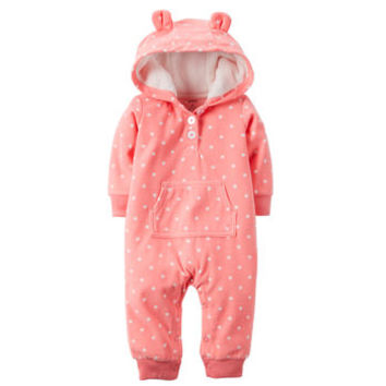 Appliqué Hooded Fleece Jumpsuit