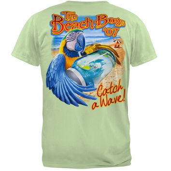 Beach Boys Parrot Catch A Wave 2007 Tour T-shirt, Green (Medium)