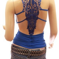 Patty Women Sexiest & Stunning Lace Back Ruched Halter Clubwear Top: Clothing