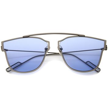 Modern Thin Wire Frame Flat Lens Pantos Sunglasses A353