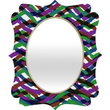 Sarah Bagshaw Collaged Strips Quatrefoil Mirror