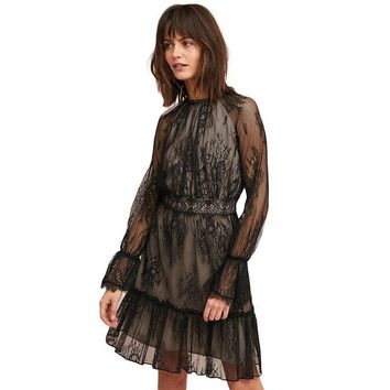 Women Black Lace Dresses O-Neck Long Sleeve  Sexy Sheer Zipper Back Elegant Party Dress Lady
