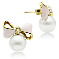 White Pearl Clear CZ  Gold Bow Earrings